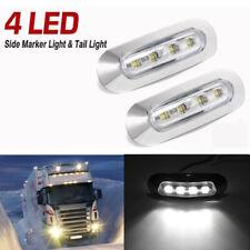 2pcs White 10-30V 4 LED Side Marker Indicators Tail Lights For Truck RV Trailer