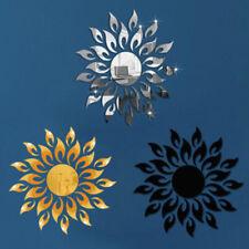 2Pcs 3D Sunflower Mirror Effect Wall Sticker Art Living Room Home Decal Mural