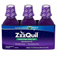 ZzzQuil Nighttime Sleep Aid Liquid From Makers of Vicks NyQuil 12oz x 3 Bottles