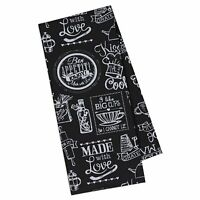 Design Imports Black and White KITCSHY CHALKBOARD Print Cotton Kitchen Towel