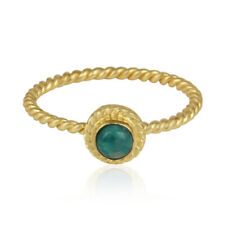 Twisted Designer 925 Silver Gold Plated Amazonite Gemstone Ring Jewelry