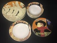 "SANGO ""Cabaret 95"" Oval Dinner/Salad/Soup/Veggie Plates Bowls Black Yellow Red"