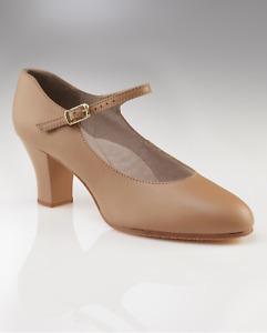 """Tan capezio jr footlight 2"""" heel character/stage dance shoes (650) - UK 8.5"""