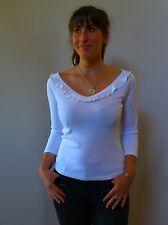 Vintage retro true 1990s 12 M white stretch off the shoulder top Le Lis Blanc