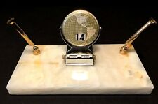 Vintage Onyx Marble Desk Double Pen Holder With Perpetual Calendar