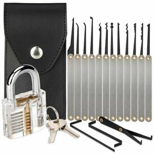 15Pcs/set Unlocking Lock Opener Kit Practice Transparent Padlock Training Tool