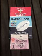 WRU wales rugby vs barbares Match Jour Programme & Ticket Stub 1990