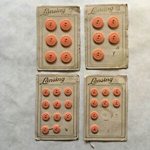 Vintage LANSING 4 Cards Coral Peach Buttons Original Cards 30 Buttons