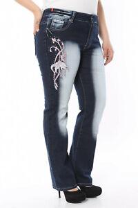 Damen Übergrößen Jeanshose Bigsize bis Gr.50 Tattoo ausgefallene Modelle Flower