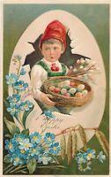 EASTER – Child Holding Basket of Eggs Happy Easter PFB Postcard - 1907