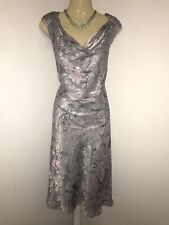 JACQUES VERT Size 14 Silver Floral Dress Maxi Long Ball Gown Evening Party Xmas