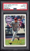 2018 TOPPS HERITAGE #275 MIKE TROUT ACTION PSA 10 GEM MINT!