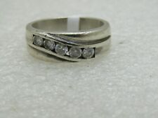 Vintage Sterling Silver Men's CZ Band Ring, Sz. 11.75.  8.5mm wide