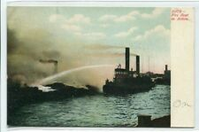 Fire Tug Boat Ship In Action 1907c postcard