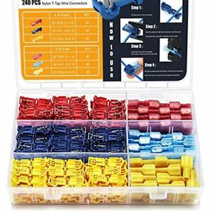 240 PCS T-Tap Wire Connectors Self-Stripping Quick Splice Electrical Term