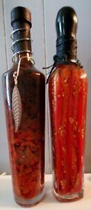 (2) Infused Vinegar Chilli Pepper and Starfruit  & Red/Green Glass Bottle Decor