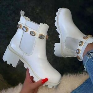 Punk Womens Block Chunky High Heels Ankle Strap Rhinestone Ankle Chelsea Boots P