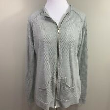Maurices Womens Zip Up Jacket Gray Mesh Pocket Stretch Long Sleeve Coat XL