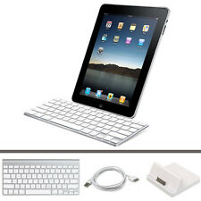 Fino Teclado Bluetooth Inalámbrico+Base De Carga+Cable USB para Apple iPad 2 & 3