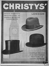 PUBLICITÉ CHRISTY'S LONDON CHAPEAUX DE COURS - BIG BEN