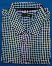 Alfani Lucky Blue Checked Long Sleeve Dress Shirt - XL