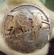 ANTIQUE PIN 900 SILVER & GOLD ISH memorabilia textiles pin Miner & Pack Mule