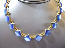 NECKLACE VINTAGE MIDCENTURY BLUE MOONGLOW BRASS ETCHED CHAIN PRETTY
