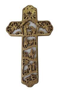 Gold Story Teller Nativity Cross Holy Family Christian Christmas Wall Hanging