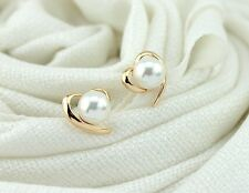 2016 New Fashion Beautiful 18K Gold Plated Shiny Pearl Heart Stud Earrings