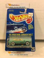 #5 '65 Mustang Convertible #26 * Aqua w/White Wall * Blue Card Hot Wheels * M2