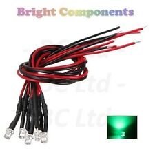 5 x Pre-Wired Green LED 3mm Flat Top : 9V ~ 12V : 1st CLASS POST