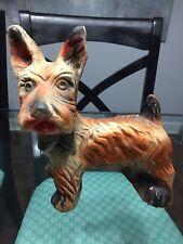 Vintage Carnival Chalkware Dog Figurine Med/large Scottie Schnauzer Standing 8�