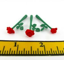 Playmobil~New~Dollhouse~Lot~3 Red Tea Roses~Wedding~Princess~Miniature~Flowers