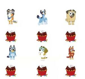 BLUEY DOG CUPCAKE CAKE TOPPERS x 12BIRTHDAY PARTY PACK LOLLY LOOT BAG PACK