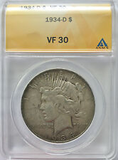 1934-D V F Very Fine Peace Dollar VF30 ANACS Certified VF Silver Coin 126