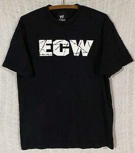 Vintage ECW Barbed Wire Logo Men's Large WWE Authentic Black & White S/S T-Shirt