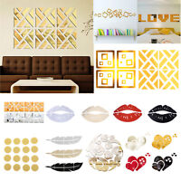 Removable Modern 3D Home Decoration Mirror Living Room sticker Wall DIY Decor