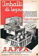 PUBBLICITA' 1936 S.A.F.F.A.IMBALLI LEGNO PAGLIA CASSE FRUTTA CASSETTA FIAMMIFERI