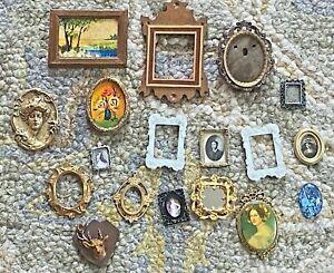 17 Dollhouse 1:12 Frames Lot Miniatures Art Pictures Prints Vintage Ornate
