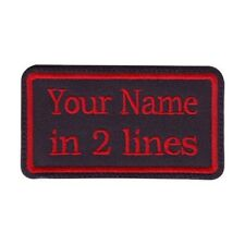 Rectangular 2 Line Custom Embroidered Biker SEW ON  Name Tag PATCH (BRR)