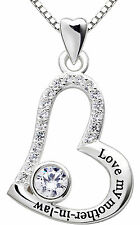 "ALOV Jewelry Sterling Silver ""Love my mother-in-law"" Love Heart Pendant Necklace"