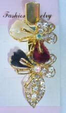Butterfly Ivory Burgundy Hair Alligator Clip Gold Crystal Rhinestone Barrette