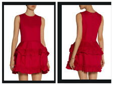 J BRAND + Simone Rocha Ruffle Tiered Flared  Red Denim Mini Dress $565 M