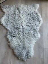 British Natural Sheepskin Rug White/grey