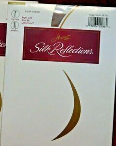 Hanes Silk Reflections Silky Sheer Thigh Highs S/M/L Black Navy Tan Smoke (4EE)