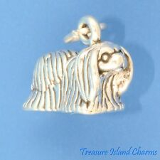 Pekingese Dog Breed Peke Puppy 3D .925 Sterling Silver Charm Made In Usa