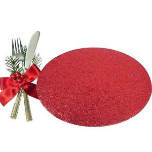 6 Placemats Set Christmas Red Glitter Oval Festive Xmas Table Home Decor
