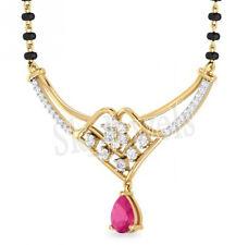 0.85ct ROUND DIAMOND RUBY & 14K YELLOW GOLD  WEDDING ANNIVERSARY MANGALSUTRA