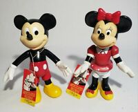 "Vintage Disney Mickey and Minnie Articulated Figurines with Tags 6 1/2"" Plastic"