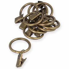 20x SMALL 25mm BRASS CURTAIN ROD CLIP RINGS Antique Pole Hanging Net Voile Hook